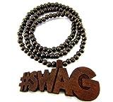 Hip Hop Jewels Large Wooden Soulja Boy #Swag Brown Wood Pendant & Chain