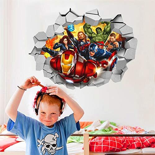 LIZHIOO 3D wandaufkleber Marvels Avengers Film durch wandaufkleber for kinderzimmer wandtattoos Cartoon super Hero wandkunst dekor DIY 45 * 60 cm Poster