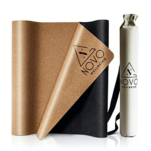 Eco Friendly Yoga Mat with Bag made from Organic Cork and Natural Rubber Portable Large Non Slip Extra Long 72' x 24' x 2mm
