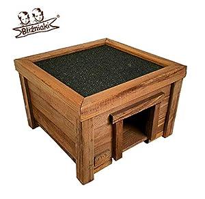 immagine di Bilanciere Niaki, casetta per ricci in legno, 31 x 31 x 21 cm, pavimento in legno impregnato, resistente alle intemperie, HDJ4 O