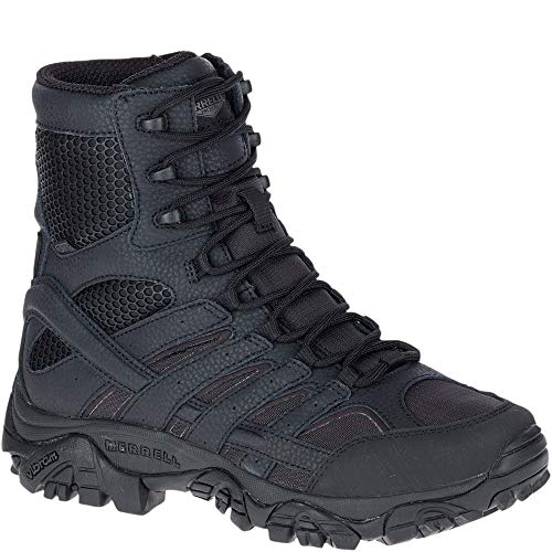 Merrell Mens Moab 2 8in Tactical Waterproof Boots, Black, 12, Medium Width