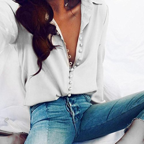 Hemlock Long Sleeve Shirt, Women's Turn Down Collar Blouse Button Tops (XL, White)