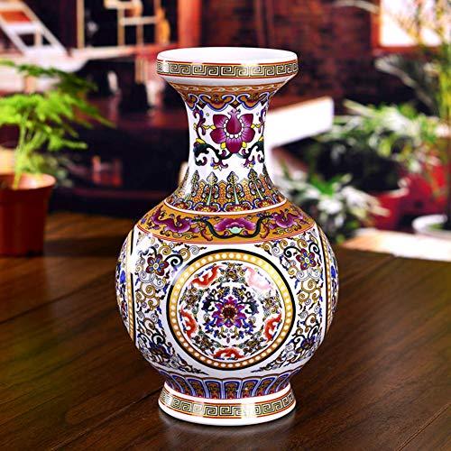 Vase Moderne Chinois Porcelaine pour Salon, Traditionnel Céramique Antique Décoration Antique Artisanat pour Le Bureau,Salle De Séjour Ou à La Maison,Cheminée-A H26cmxD16cm