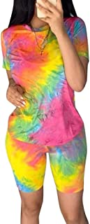 Chatinction Women's Short Sleeve Tie Dye Print T-Shirts High Waist Bodycon Shorts 2 Piece Outfits Tracksuit Set