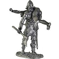 バイキングとその獲物。金属の彫刻。コレクション54mm(1/32スケール)ミニチュアフィギュア。ブリキおもちゃの兵隊