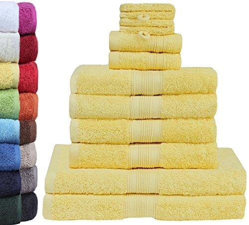 GREEN MARK Textilien 10 TLG. FROTTIER Handtuch-Set mit verschiedenen Größen 4X Handtücher, 2X Duschtücher, 2X Gästetücher, 2X Waschhandschuhe   Farbe: Gelb   Premium Qualität