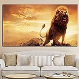 zgwxp77 Imprimir póster de decoración de Sala de Estar con león Abstracto en la montaña Pintura al óleo Lienzo Pared animal30 X 60 cm sin Marco