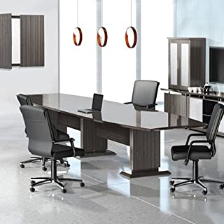 8ft - 16ft Modern Designer Conference Room Table, Office Meeting Boardroom, 10ft 12ft 14ft (10ft w/ 2 Power Modules, Textured Mocha)