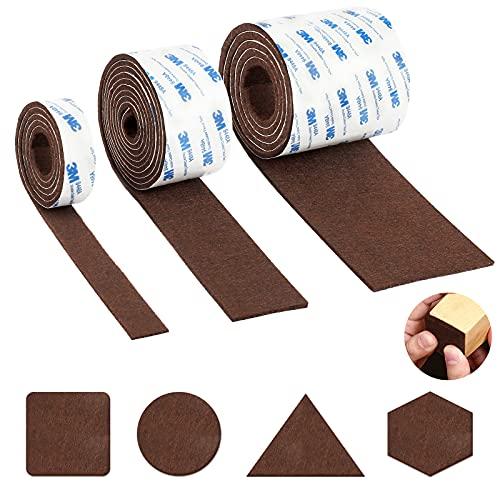 傷防止テープ 椅子 あし 傷防止 カバー 家具 床 保護 フェルトシート キズ防止テープ 家具保護パッド 滑り止め 損傷防止 防音 自由にカットできる 茶色 3本入