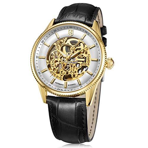 Relojes automáticos, relojes para hombres, relojes mecánicos de correa de cuero, relojes mecánicos de acero inoxidable automáticos para hombres, correas de cuero cómodas (para hombres y mujeres),Oro