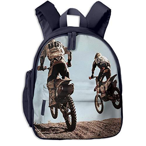 Mochila para Niños Motocross Moteros Impresionantes, Mochila Escuela Primaria de Edad Peso Ligero Pérdida Mochila de Viaje para Chico Chica