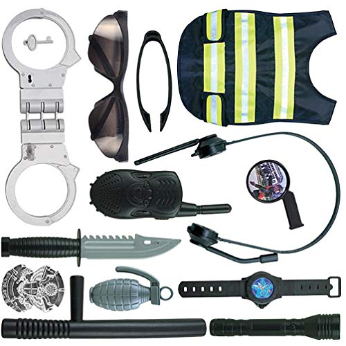 STOBOK 1 Set Kids Police Uniform Handcuffs Vest Glasses Walkie Talkie Watch Cosplay Costume Props Halloween Equipped Police Costume Toys for Boy Kids