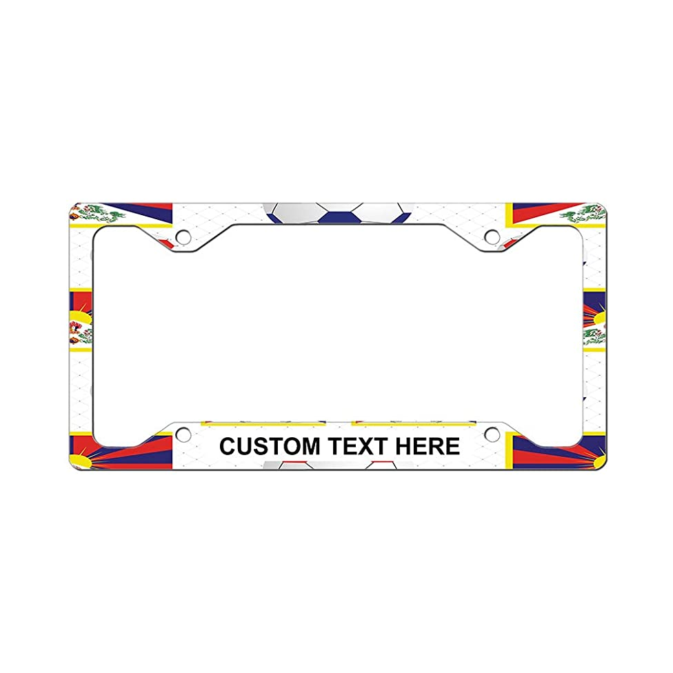 Custom License Plate Frame Tibet Country Flag Soccer Aluminum Cute Car Accessories Narrow Top Personalized Text Here Set of 2