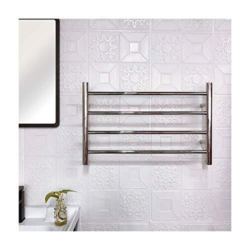 Calentador de toallas, toallero eléctrico con calefacción con 4 barras Acero inoxidable...