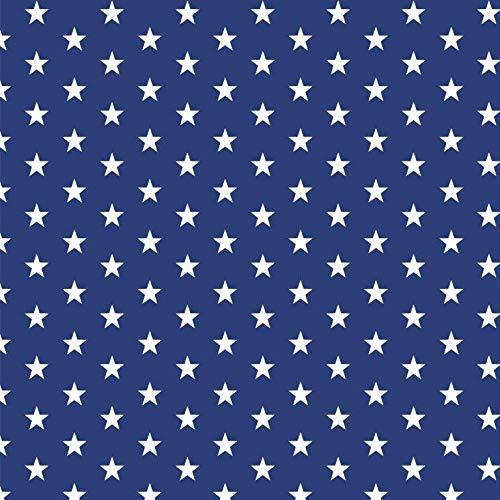 babrause® Baumwollstoff Sternchen Royal Blau Webware Meterware Popeline OEKOTEX 150cm breit - Ab 0,5 Meter