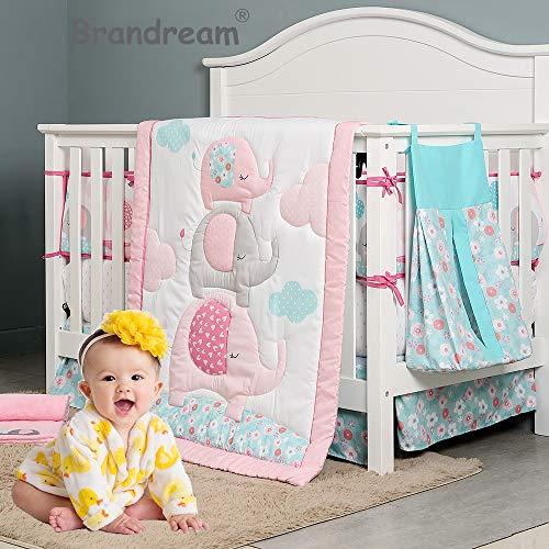 Brandream Pink Grey Elephant Crib Bedding Sets for Baby Girls |10 Piece Nursery Set with Exotic Floral Design
