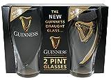 Guinness Gravity 20oz. Embossed Pint Beer Glasses 14K Gold Harp Logo [Set] (2 Pack)