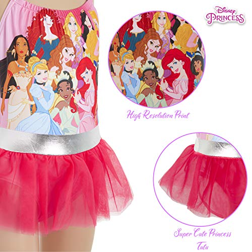 Disney Bañador para Niña Princesas, Pieza Frozen 2 Anna y Elsa, Jasmine, La Cenicienta, Rapunzel, Bella, La Sirenita Ariel, Regalos para Niñas 2-10 Años (2-3 años, Rosa)