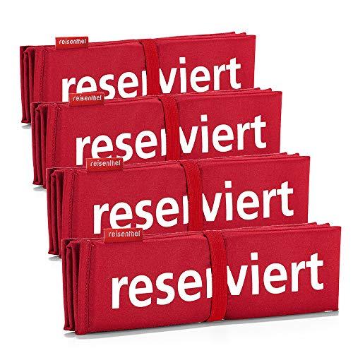 reisenthel 4er Set Seatpad Sitzkissen Gummi sitzkissen stuhlkissen Kissen faltbar Druck Set 4 Stück (rot)