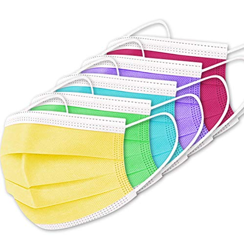 50 PCS Disposable Face M asks, 3 Layers Breathable Safety M asks with Elastic Earloops for Adult (Mix Color)