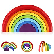Afunti Wooden Rainbow Learning Toy Geometry Building Blocks Educational Puzzle Toy 7 Pcs