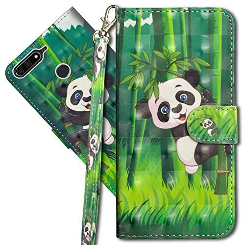 MRSTER Huawei Y7 2018 Handytasche, Leder Schutzhülle Brieftasche Hülle Flip Hülle 3D Muster Cover mit Kartenfach Magnet Tasche Handyhüllen für Huawei Y7 2018 / Honor 7C. YX 3D - Panda Bamboo