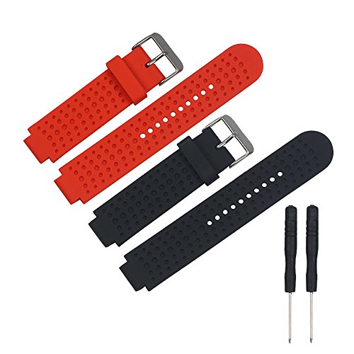 RuenTech Replacement for Forerunner 25 Watch Band Strap Compatible with Garmin Forerunner 25 Smart Watch-Large/Man (Black&Red)