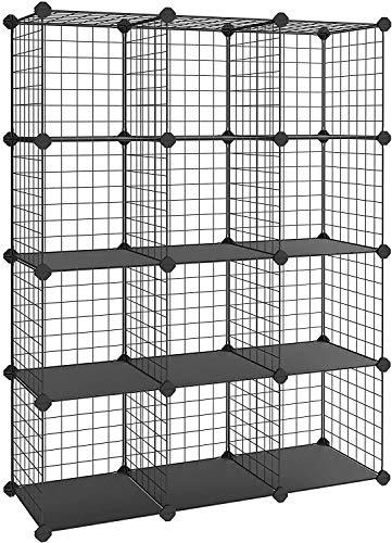 uyoyous 12 Kubus Regalwürfel Drahtregal Steckregal Regalwürfel aus Drahtgitter 12 Fächer Regalsystem 111X37X147CM, Individuell Aufstellbar Schwarz