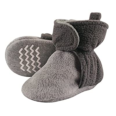 Hudson Baby Unisex Cozy Fleece Booties, Charcoal Heather Gray, 12-18 Months