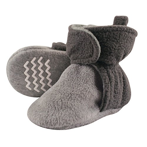 Hudson Baby Unisex Cozy Fleece Booties, Charcoal Heather Gray, 12-18 Months