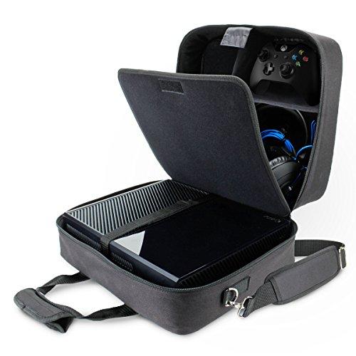 USA Gear Tragetasche für Gaming Konsolen - Schutz Konsolentasche mit Schultergurt und Unterteilbaren Fächer für Zubehör und Games – Kompatibel mit Playstation 4, Xbox One und Mehr Konsolen - Schwarz