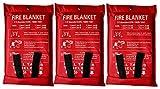 Lonnsaffe Manta de emergencia de fibra de vidrio para supervivencia, ideal para cocina, chimenea, parrilla, coche, camping (3 unidades)