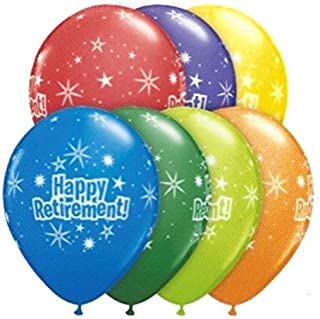 Qualatex Latex Happy Retirement Starburst Design 11 inch Oval Helium or Air Balloon in Assorted Multi Vivid Colors, 6 pieces per Pack