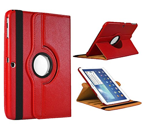 Kingsource 360 Rotating Stand Cover Wake & Sleep Function PU Leather Case Compatible for Samsung Galaxy Tab 4 10.1 (SM-T530NU) Color Red