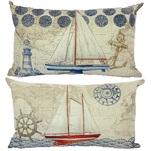 Juego de 2 fundas de almohada náuticas de 30,5 x 50,8 cm, diseño de mapamundi vintage para sofá, patio, cama, coche, etc.