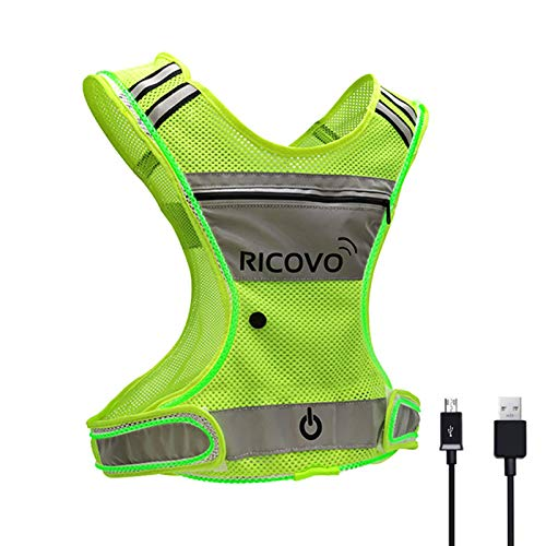 RICOVO LED Rechargeable Safety Vest with Pocket and Zipper for Night Running (Yellow/Green)