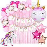 Decoración Cumpleaños de Unicornio para Fiesta de Niña y Mujer-Guirnalda de Globos, Pancarta Feliz Cumpleaños, Cortina de Flecos, Globos de Aluminio y Globos de Látex con Confeti