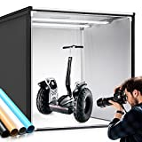 Photo Light Box, SAMTIAN 100x100x100CM Portable Folding Studio Box Professional Tabletop Photography Lighting Kit 4 Colors Backdrops LED Lights Adjustable Brightness 15000LM