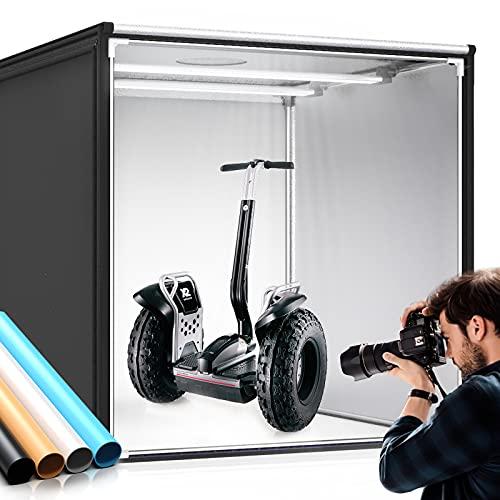 SAMTIAN Fotostudio, 100x100x100cm dimmbare Faltbare Lichtzelt professionelle Fotobox Kit LED Beleuchtung Fotozelt mit 4 Hintergründe (weiß, schwarz,...