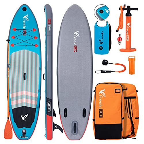 Freein Explorer SUP Inflatable Stand Up Paddle Board ISUP 10'2''/11 ft Long 33' Wide with Sport Camera Mount Package