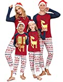 Doaraha Pijamas de Navidad Familia Conjunto Pantalon y Top Manga Larga Pijama 2 Piezas Ropa de Dormir para Mujer Hombre Mamá Papá Niños Invierno Otoño Homewear Sleepsuit (Rojo/Azul - papá, 2XL)