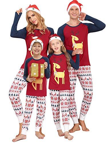 Doaraha Familie Weihnachten Schlafanzug Weihnachtspyjama Set, Zweiteiliger Weihnachtsschlafanzug Lang für Kinder Erwachsenne, Langarm Hirsch Schlafshirt und Lange Pyjamahose