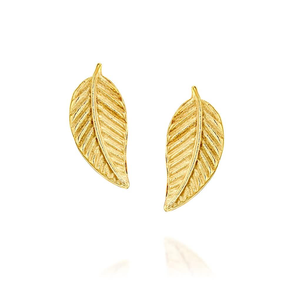 Tiny Gold Leaf Wholesale Stud Earrings - Designer Small P Handmade Feather Regular dealer