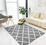 Product Image of the Ottomanson Collection Trellis Shag Rug, 5' x 7', Gray