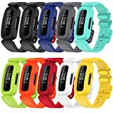 10 Pack Bands Compatible with Fitbit Ace 3 for Kids,Soft Silicone Waterproof Bracelet Accessories Sports Watch Strap Wristbands Replacement for Fitbit Ace 3 Boys Girls (Black,Black Astro Green,Blue,Gray,Lake Blue,Lime,OrangeRed,Red,White,Yellow)
