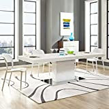 Modway Vector 71' to 95' Contemporary Modern Expandable Dining Table in White Silver