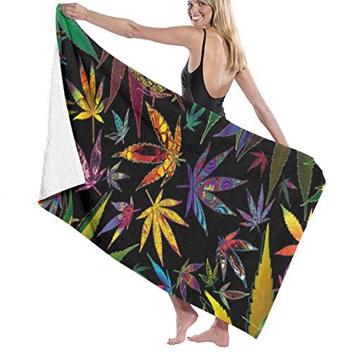 Poikl Marihuana Colorida Toallas de Playa Unisex Toallas de baño Adultos Adolescentes 31x51 Pulgadas