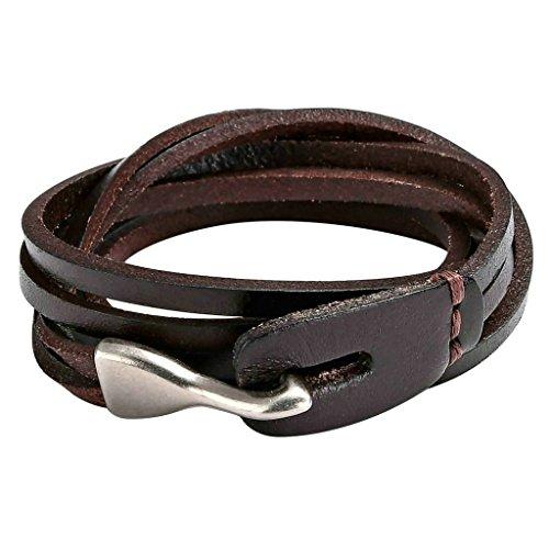 Beydodo Edelstahl Leder Armband Herren Lederarmband mit Fisch Haken Verschluss Hand Wickelarmbänder Armkette Dunkelbraun