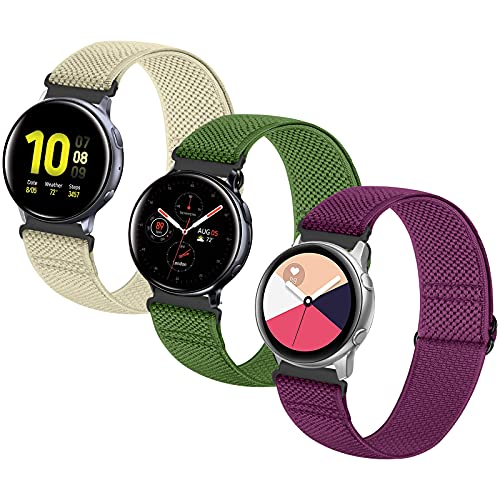 Neoxik 20mm Watch Band Quick Release Sport Compatible with Samsung Watch 3 41mm/Active2 44mm 40mm /Galaxy Watch 42mm/Garmin vivoactive 3/Forerunner 645/ Nylon Elastic Breathable Replacement Straps