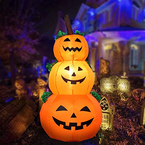 Outdoor Halloween Inflatables Pumpkin Decorations – 4FT Holiday Yard Decorations – Blow up Yard Lawn Inflatable with Build-in LED for Front Yard, Porch, Lawn or Halloween Party IndoorHome Family Decor